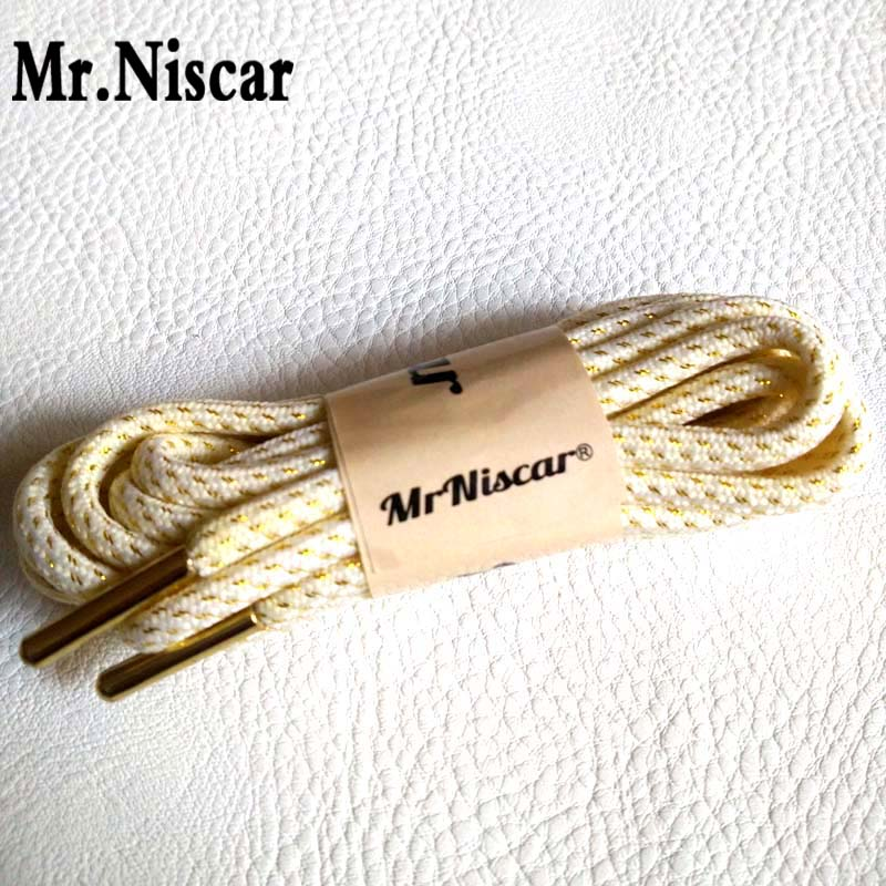 Mr.Niscar 2 Pair Polyester Sneaker Shoe Laces Round 120cm Metallic Head Shoelace Fashion Gold Thread White Shoelaces 160 cm jup 50 pairs sneaker shoelaces skate boot laces outdoor sport casual multicolor bumps round shoelace hiking slip rope shoe laces