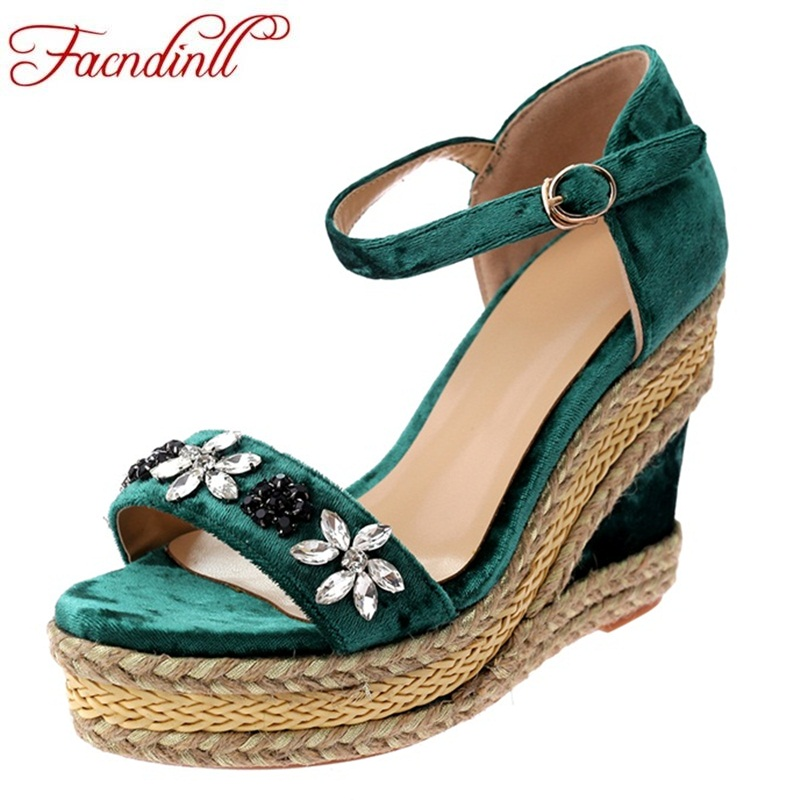 FACNDINLL 2018 newset women shoes fashion summer wedges high heels platform shoes woman high qulaity rhinestone party sandals facndinll new women summer sandals 2018 ladies summer wedges high heel fashion casual leather sandals platform date party shoes
