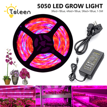 Kit Sale Red:Blue=3:1 /4:1 /5:1 LED Phyto Lamp Grow Strip Light 2M 1M 12V 5050SMD Ribbon String LED Plant Light FitoLampy
