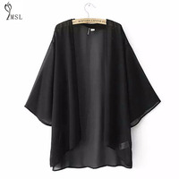 Chiffon Batwing Kimono Cardigan Boho Chemise Lady 2016 Summer Beach Plus Size Solid White 3