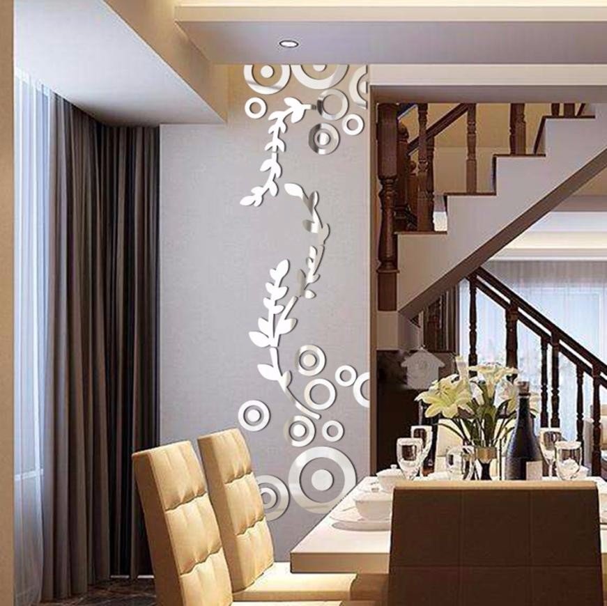 3D Wall Sticker Decoration Wallpaper Creative Circle Ring Acrylic Mirror Wall Stickers I ...