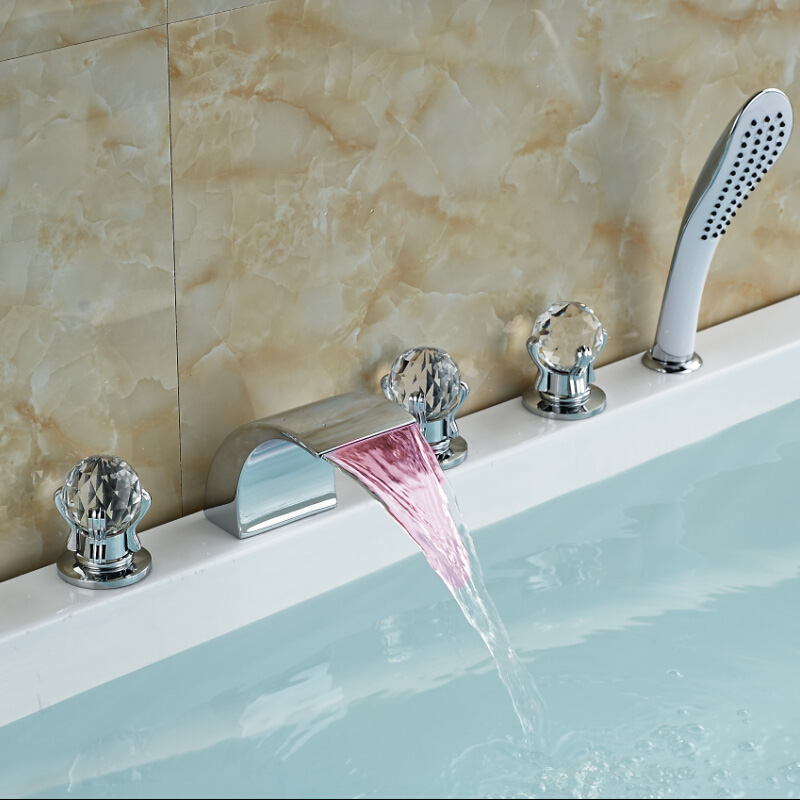 Chrome Finished Deck Mount Waterfall Bathtub Mixer Taps 5pcs 5 holes Bathroom Sink Faucet w/ LED Light new original mr j3 20a 1 3ph ac220v 200w ac servo drive