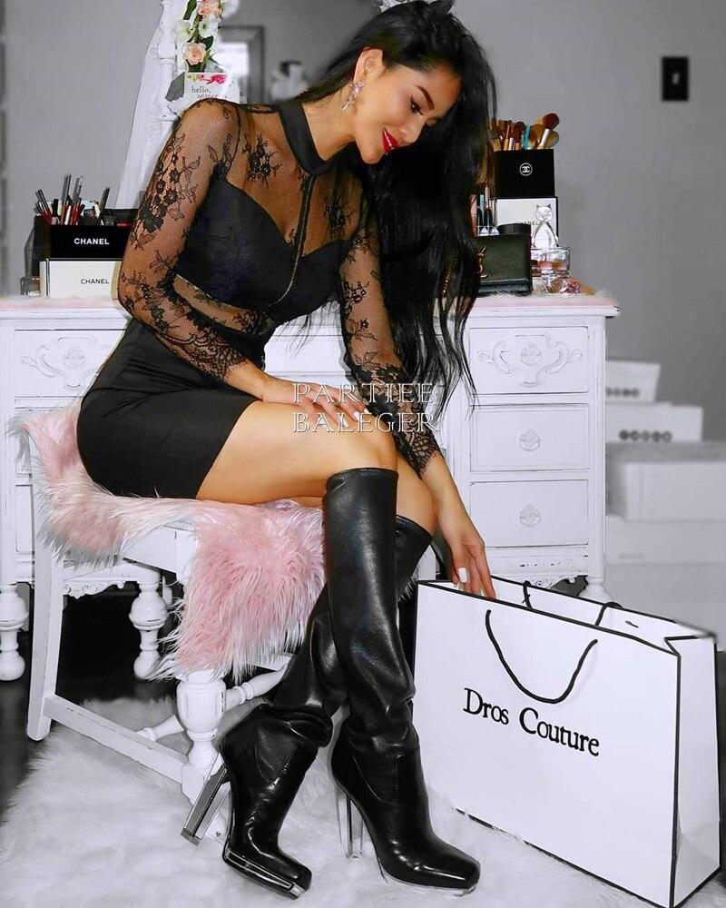 Club Nouvelle Noire Dentelle Party Bandage Robe 2019 Manches Arrivée Cou Celebrity Design Élégante Noir Longues Patchwork O Perles ZwpIAdxI