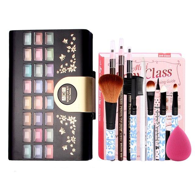 Concealer Contour Makeup Palette+5pcs Makeup Brushes Set+Black Eyeliner+Sponge Puff+Eyebrow Pencil Eyeshadow Blush Women Make Up