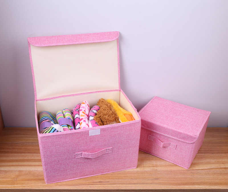Tecido de linho de algodão Dobrável CD Caixas de Caixas De Armazenamento Dobrável Cesto de Roupa Suja Cesta De Armazenamento Brinquedos Organizador Com Tampa E Alças