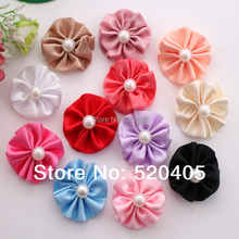 Headbands Accessories hot al baby girls hair flower 100% Hair Made Round Satin Flower With Half Pearl Center 100PCS