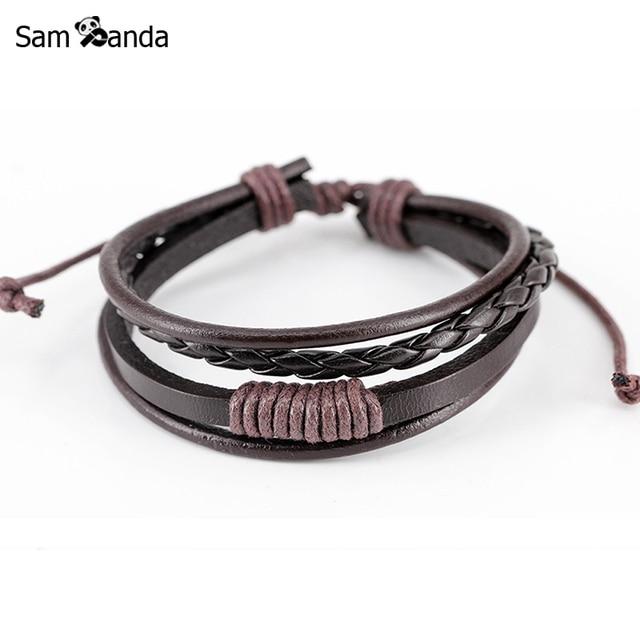 79e11404c038 2018 nueva pulsera de cuero multicapa para hombre joyería Punk Vintage  cuerda pulseras brazaletes Vintage moda