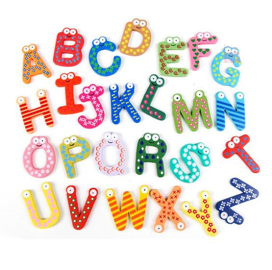 26pcs Colorful Magnet Letter Alphabet Painted Wood Wooden Name Nursery Wall Letters Baby Children Educational Toy