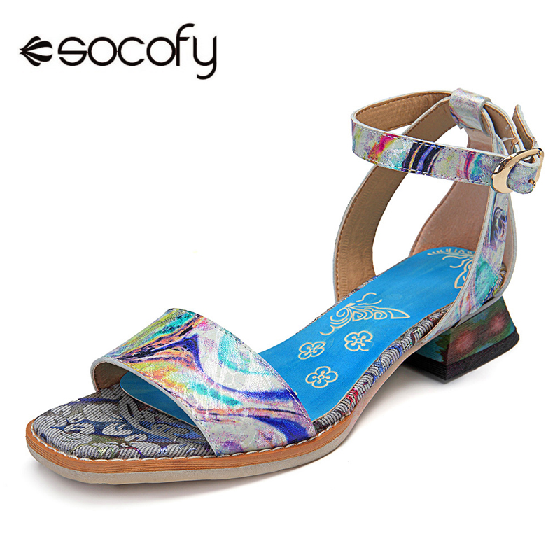 Socofy Ankle Strap Sandals Genuine Leather Camouflage Milky Way Peep Toe Buckle Hook Loop Cover Heel Summer Sandals Women Shoes socofy bohemian genuine leather shoes women sandals vintage printing forest hook loop wedge heel women slippers summer new