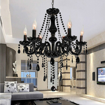 European Candle Crystal Chandeliers Ceiling Crystal Lamp With 6 Lights For Bedroom Living Room Dinning Room E14 K9 Crystal Lamp