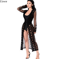 Uown 2017 Autumn Blouse Long Kimono Shirt Sexy Lace Patchwork Long Sleeve V Neck See Through