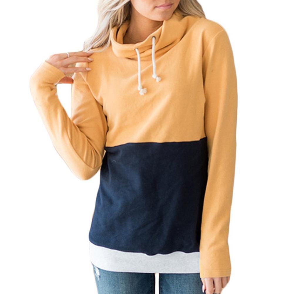 Hoodies Long Sleeve Loose Crop Top Sweatshirt Casual Patchwork Neck Elastic Waist Pullovers Girls Streetwear 6 Color