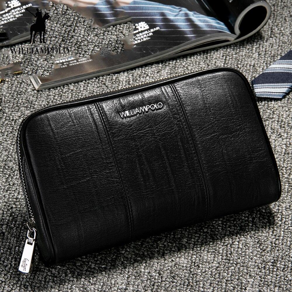 WilliamPOLO nouvelle pochette longue pour hommes porte-carte de crédit en cuir véritable organisateur sac à main avec fermeture éclair poche Portable