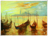 Venice oil painting Italian landscape oil painting on canvas hight Quality handmade Yellow oil painting The Dogana Sunset