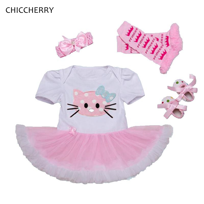 Summer 2017 Hello Kitty Baby Girl Clothes Set Lace Petti Rompers Girls Dresses Headband Crib Shoes Leg Warmers Newborn Tutu Sets summer newborn baby rompers ruffle baby girl clothes princess baby girls romper with headband costume overalls baby clothes