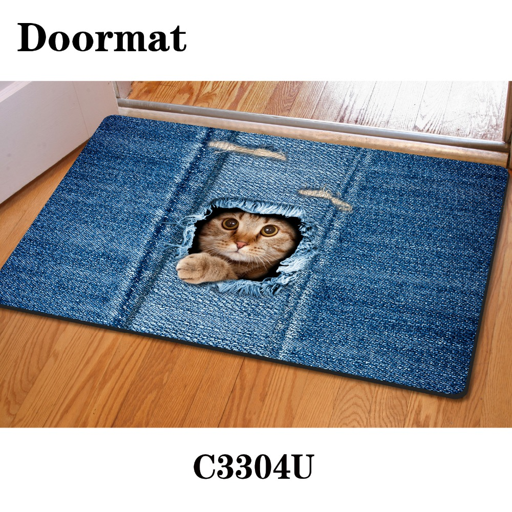 Fashion Kawaii Welcome Floor Mats Animal Cute Cat Dog Print Bathroom ...
