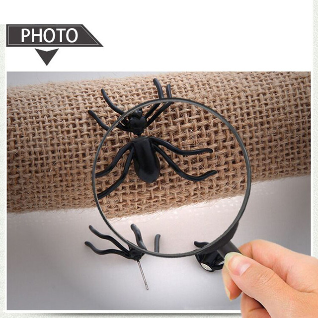 Halloween Decoration 1Piece 3D Creepy Black Spider Ear Stud Earrings for Haloween Party DIY Decoration Home Decor 2