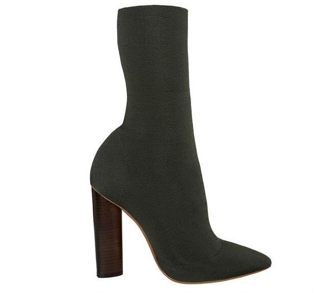 Schwarz Elastische Kurze Booties Klobigen High Ferse Schuhe Frau Spitz  Herbst Stiefel Stricken Socke Botines Mujer a657e561f4