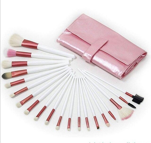 Free shipping! New Pro 20 pcs natural animal goat hair pink color cosmetics brush makeup brushes sets kits, dropshipping!
