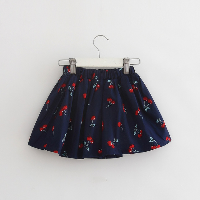 2016 New style high quality cotton cherry print girl skirt baby tutu skirts kids over hip skirt baby girls mini skirts saia
