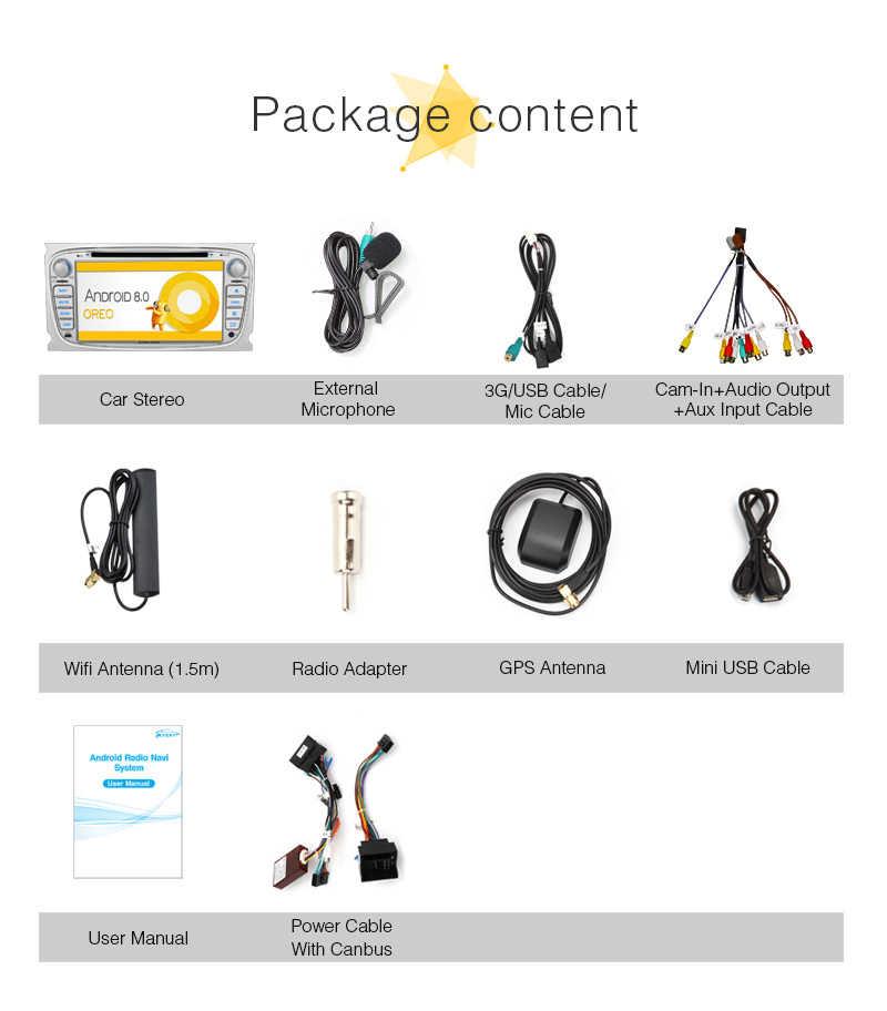 "Pumpkin2 Din 7 ""Android 8.0 Car DVD Player GPS นำทาง Qkta - Core 4G RAM สเตอริโอสำหรับ ford Focus/Mondeo Wifi 4G OBD2 Headunit"
