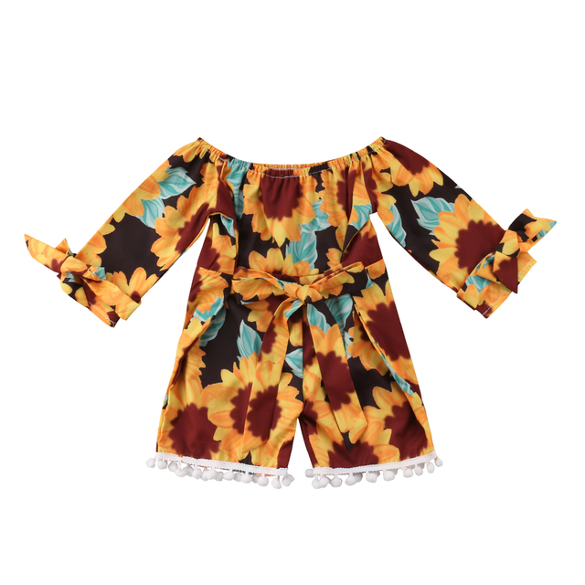 82f2e87e7a49 2018 New Kids Baby Girl Clothes Sunflower Romper Off Shoulder Jumpsuit  Sunsuit Outfits Summer Set