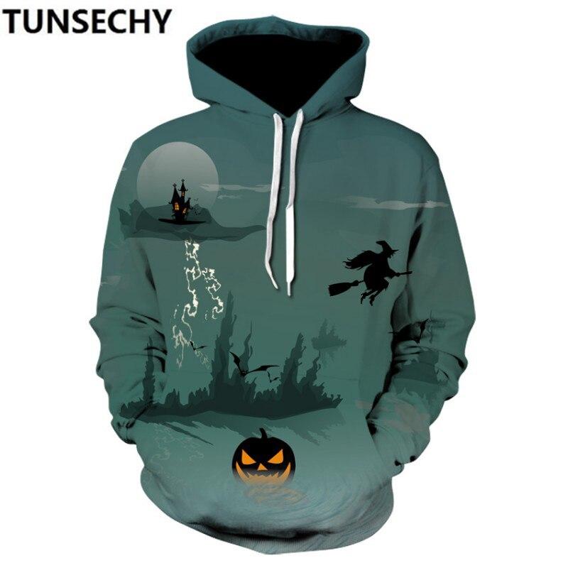 Hot style 2018 autumn winter Halloween new male creative digital pumpkin printed3D men's clothing men's clothing