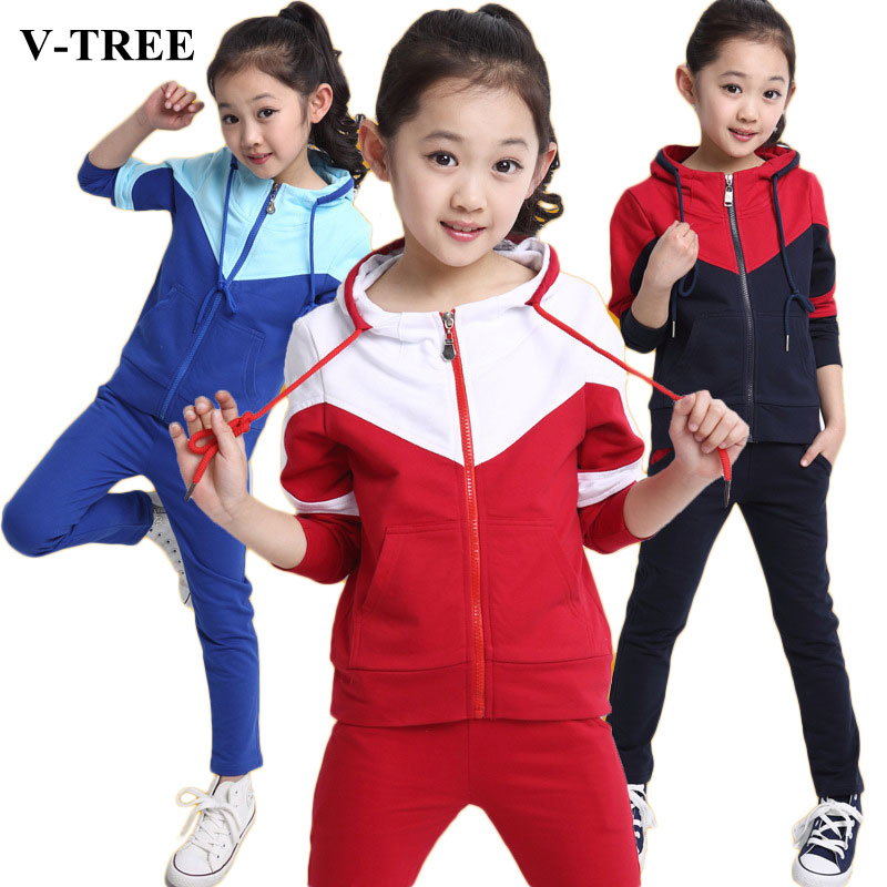 V-TREE Girls Clothing Sets Zipper Coat+pants Sport Suit For Teenagers Splice Girls School Uniform Kids Tracksuit 10 12 Years
