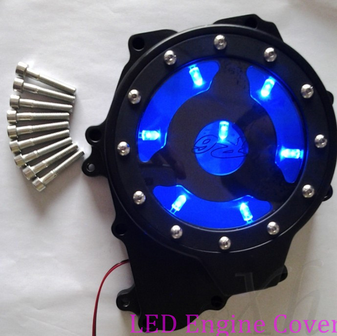 Aftermarket free shipping motorcycle parts LED see through Engine Stator cover for  Yamaha YZF R6 2003-2006 03-09 R6S BLACK BLUE aftermarket free shipping motorcycle parts eliminator tidy tail for 2006 2007 2008 fz6 fazer 2007 2008b lack