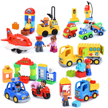 Diy Busy City Site Truck Building Blocks Duploed Bricks Toys for Children Christmas Gifts Education