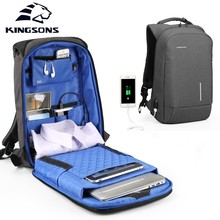 Kingsons KS3149W 13.3 15.6 inches Laptop Backpacks Men Women Fashion Travel Backpack Student Bag With External USB Charging kingsons 2018 new backpack upgraded solar backpack fast usb charging kanpsack 15 6 inches laptop backpacks male women travel bag