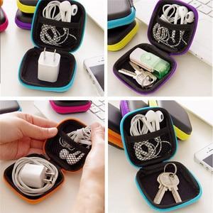 Image 2 - Mini Zipper Disco Headphone Caso PU Couro Caixa de Fones De Ouvido Fone de Ouvido Cabo USB Organizador De Armazenamento Saco de Proteção Portátil Saco