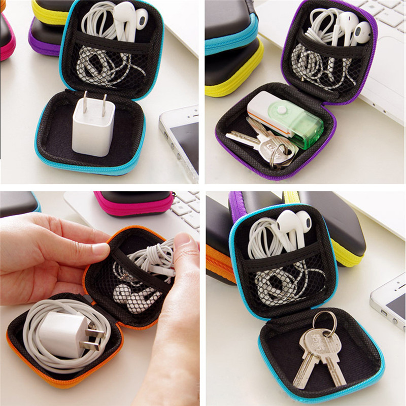 Image 3 - Mini Zipper Hard Headphone Case PU Leather Earphone Storage Bag Protective USB Cable Organizer Portable Earbuds Box Bag-in Earphone Accessories from Consumer Electronics