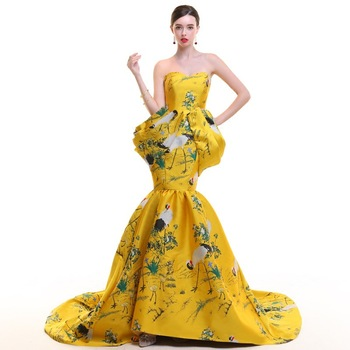 Mermaid Evening Dress With Shawl Luxury Prom Dresses Satin Cheongsam Traditional Chinese Wedding Gown China Qipao Embroidery