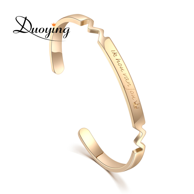 9df3b482a757 DUOYING nombre personalizado brazalete pulsera de plata de oro rosa Bar nombre  grabado pulsera personalizada inicial