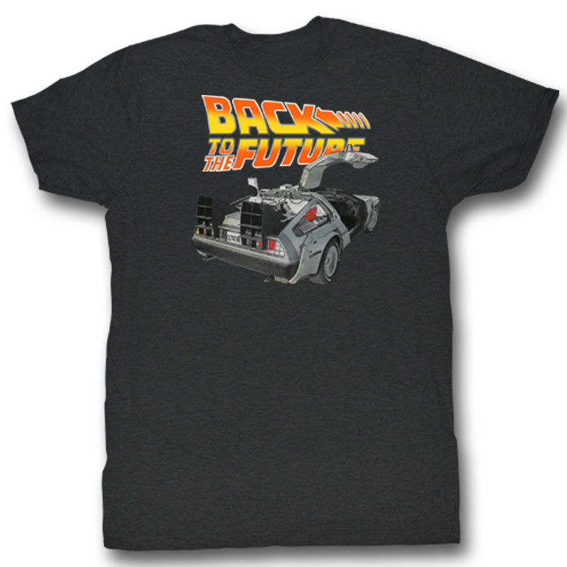 BACK TO THE FUTURE BTF CAR BLACK HEATHER Mens Adult Short Sleeve T-Shirt