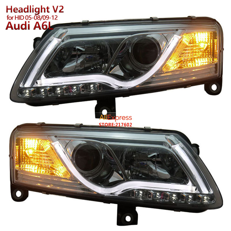 for Audi A6 A6L Projector Headlights V2 style fit 2005-2008 2009-2012 Original HID/Xenon Models Ensure High Quality & Fitment