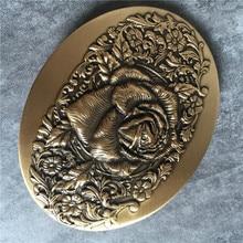 100% Brass Rose Flower Belt Buckle High Quality Belt Buckle Diy Accessories For Cowboy Jeans Man Belt BK0087