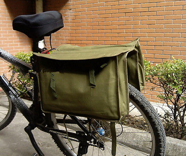 Intage Green Canvas Military Surplus Style Messenger Bag Bicycle Pannier Cn035