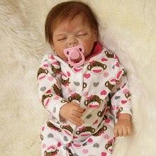 Monkey Pink Sleeping Girl Baby Doll Reborn 22 Inch 55 cm Princess Babies Toy Lifelike Dolls With Hair Kids Birthday Xmas Gift