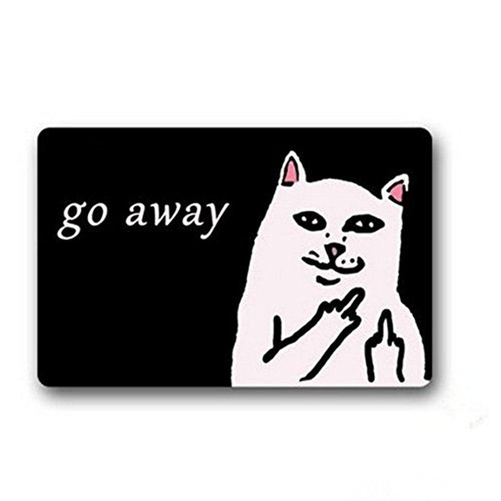 Doormat White Cat With Middle Finger Humorous Entrance Indoor Outdoors Floor Mat Gate Pad Cover Doormat