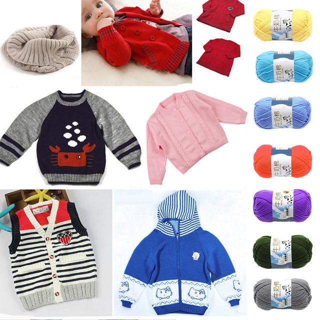 87c82ec74 50G roll Milk Sweet Soft Cotton Baby Knitting Wool Yarn Milk Cotton ...