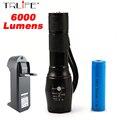6000 Люмен Фонарик 5-режим LED CREE XM-L T6 Тактический Фонарик Масштабируемые/Регулируемый Фокус Фонарик Лампы + 1*18650 + Зарядное Устройство