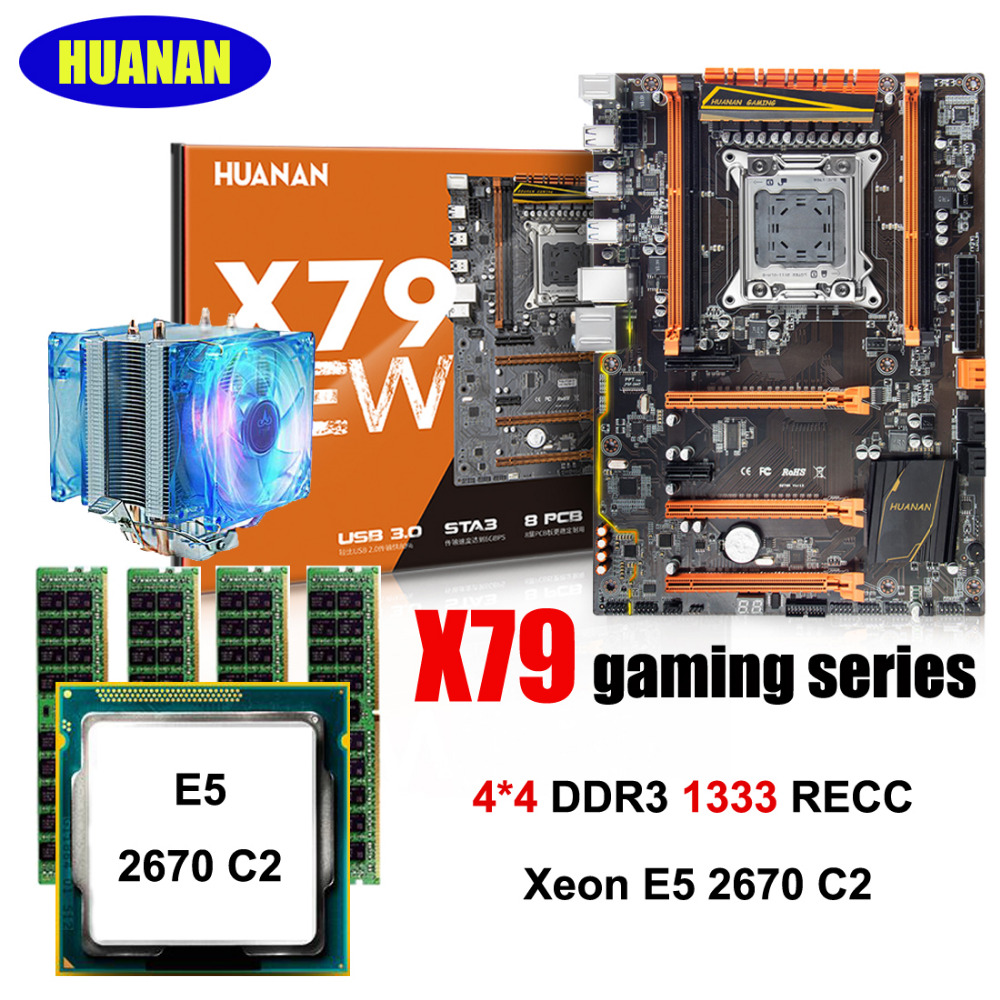 Bâtiment PC HUANAN Deluxe X79 carte mère CPU RAM ensemble X79 LGA2011 carte mère Xeon E5 2670 C2 avec cooler RAM 16G (4*4G) RECC
