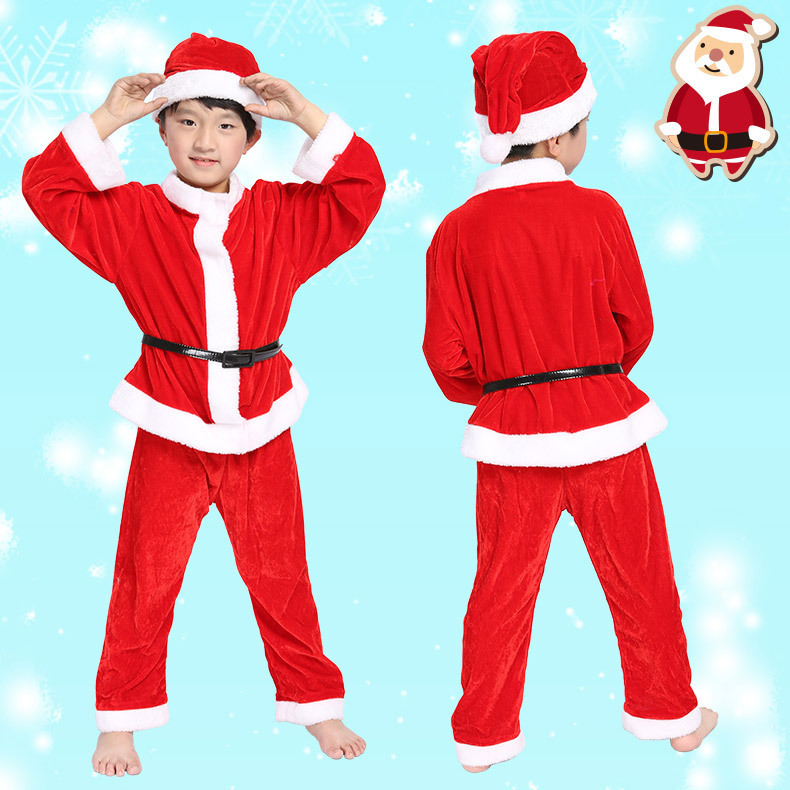 free shipping children christmas red santa claus costumes kids xmas outfits boys suits set girls christmas dresses clothes in boys costumes from novelty - Santa Claus Children