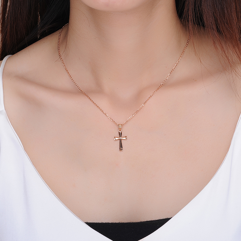 2017 New 18K Rose Gold Charm Jewelry  Pendant Woman Girl Necklace All-match Fashion Simple Cross Shape Multicolor Romantic Pop