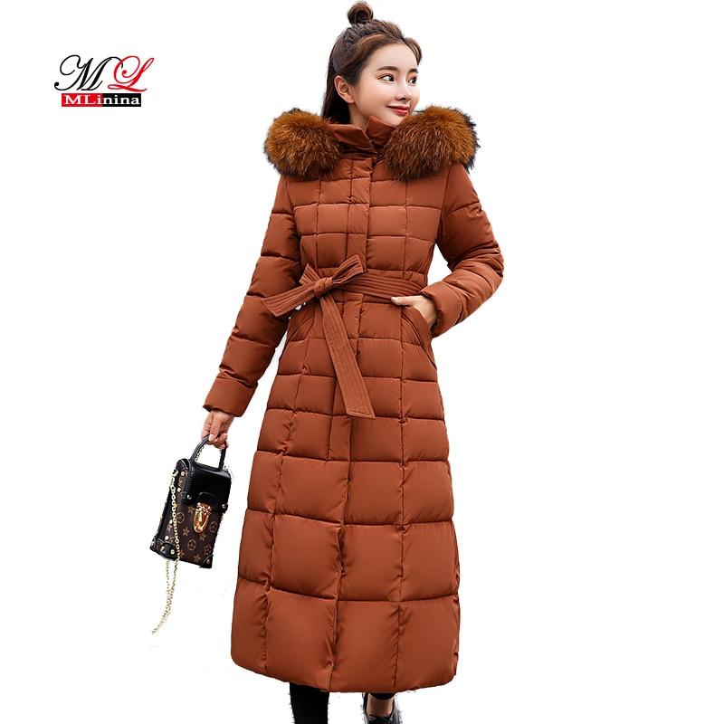 MLinina Winter Jacket Women 2018 Winter Coat Female Fur Remove Long   Parkas   For Girls Slim Cotton Coat Plus Size 3XL Snow Wear