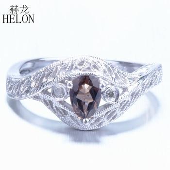 5d0aafc7d5cd HELON sólido 14 K (585) oro Blanco pera corte 0.3ct impecable de cuarzo  ahumado Natural compromiso anillo de diamantes antiguo Vintage joyería