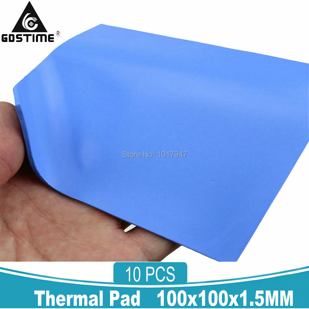 10pcs Lot Blue 100x100x1.5mm 100 X 1.5mm Silicone Compound Conductive Thermal Pad