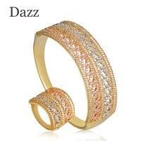 Dazz Three Tone Dubai Style Women Jewelry Set Full Cubic Zircon Hollow Bangle Bracelet Finger Ring Sets Copper Wedding Jewelry